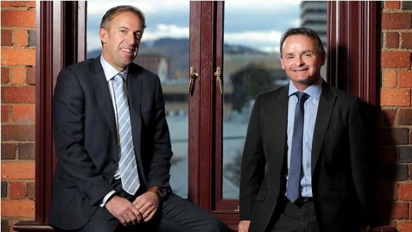 Mercury: Beacon Foundation chief Scott Harris, left, with new chief operating officer David O'Byrne. Picture: LUKE BOWDEN